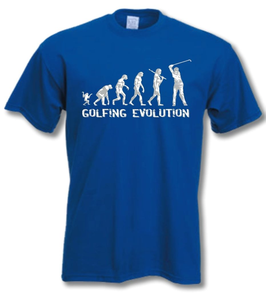 t shirt golf evolution bleu royal