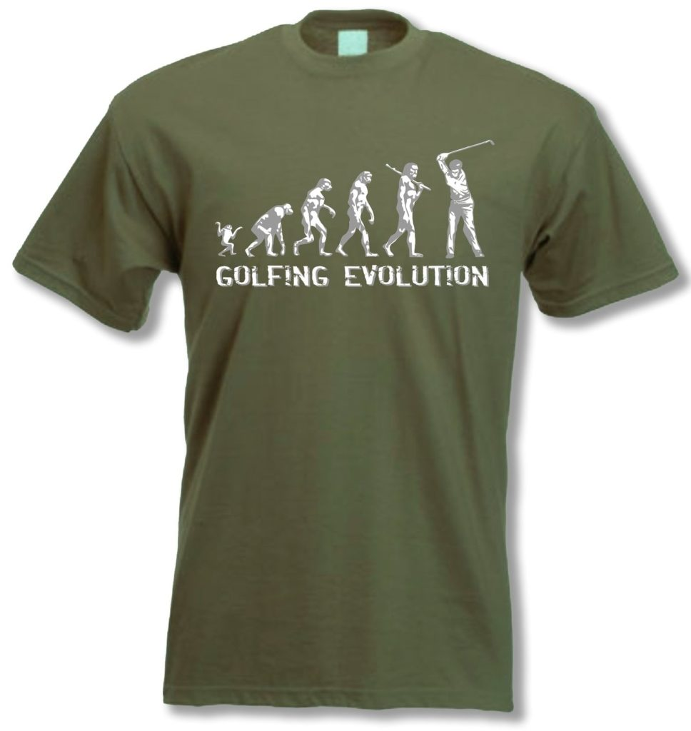 t shirt golf evolution kaki