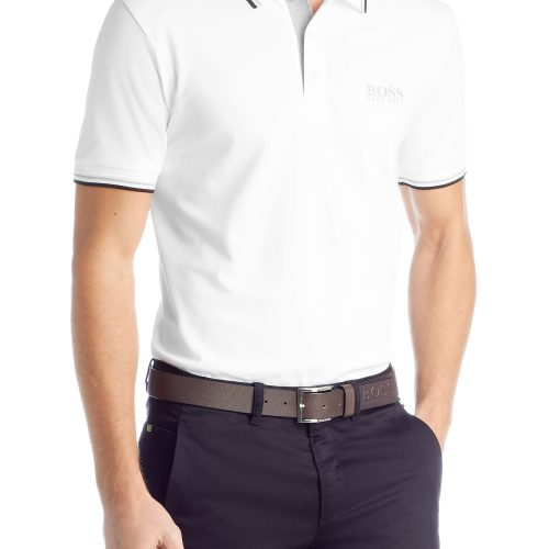 Polo Golf BOSS de golf coupe Regular Fit « Paddy Pro » Blanc