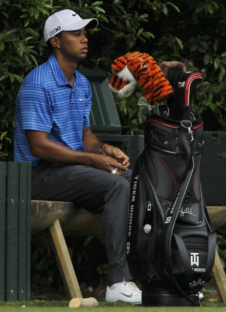 Tiger Woods of the U.S. waits to tee off on the fifth hole during third round play in the 2011 Masters golf tournament at the Augusta National Golf Club in Augusta, Georgia, April 9, 2011. REUTERS/Hans Deryk (UNITED STATES - Tags: SPORT GOLF)