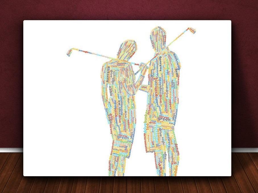 Toile d'art Duo de Golfeurs - Cadeau Golf