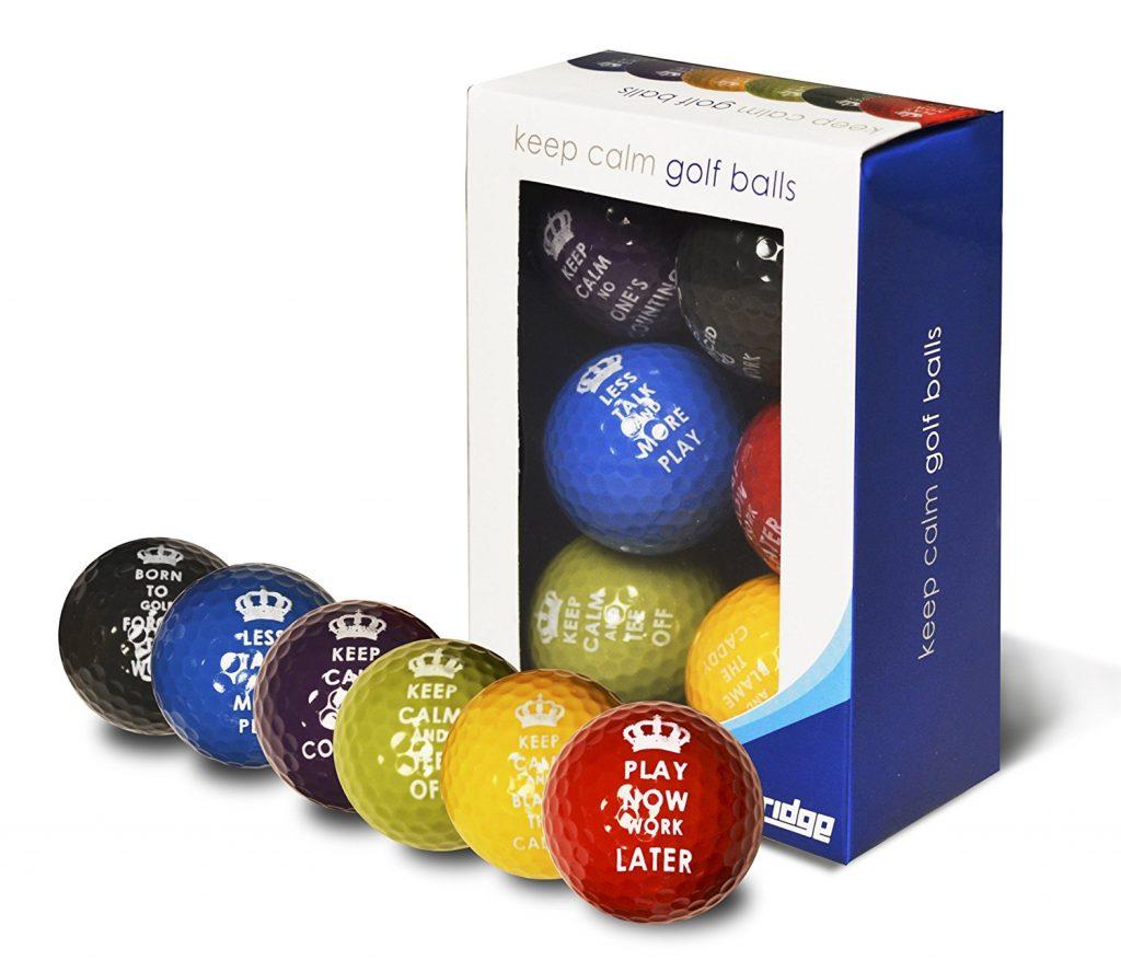 Lot de 6 balles de golf Keep Calm Multicolore - Cadeau Golf