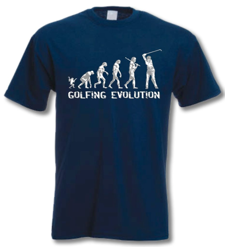 t-shirt golf evolution bleu
