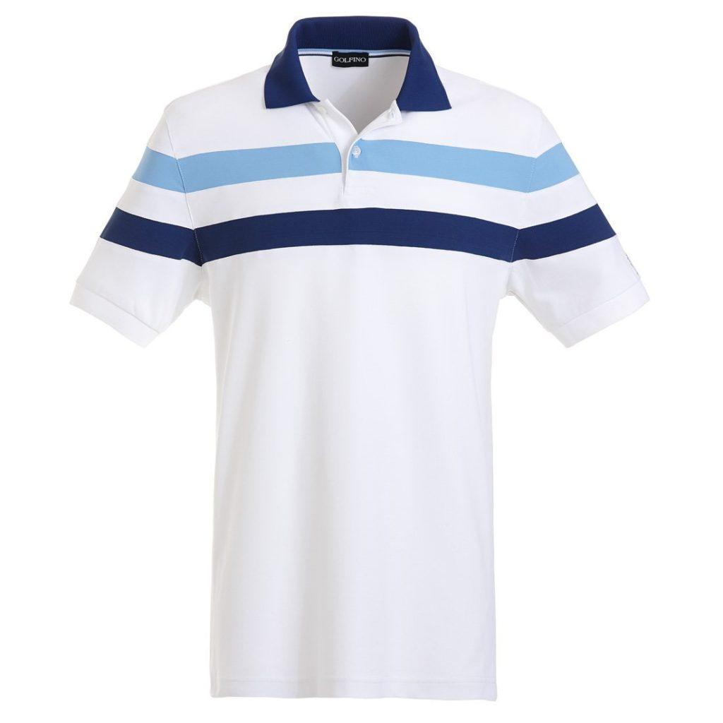 polo de golf golfino avec bandes optic white le meilleur du golf. Black Bedroom Furniture Sets. Home Design Ideas