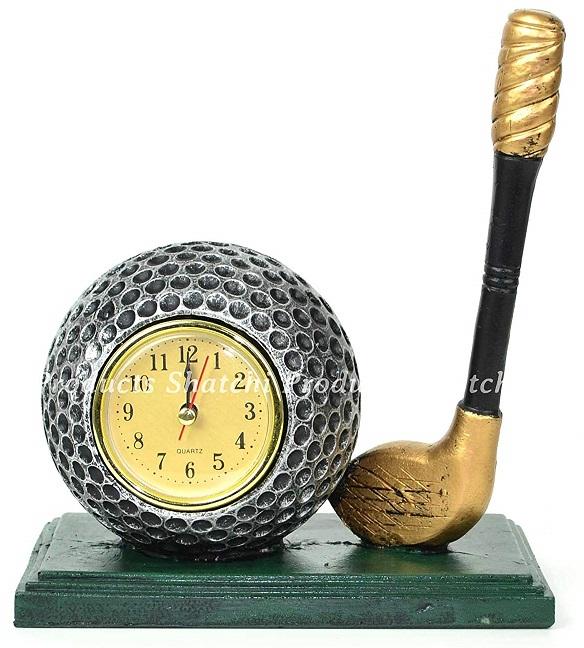 Sculpture balle de golf horloge et club de golf