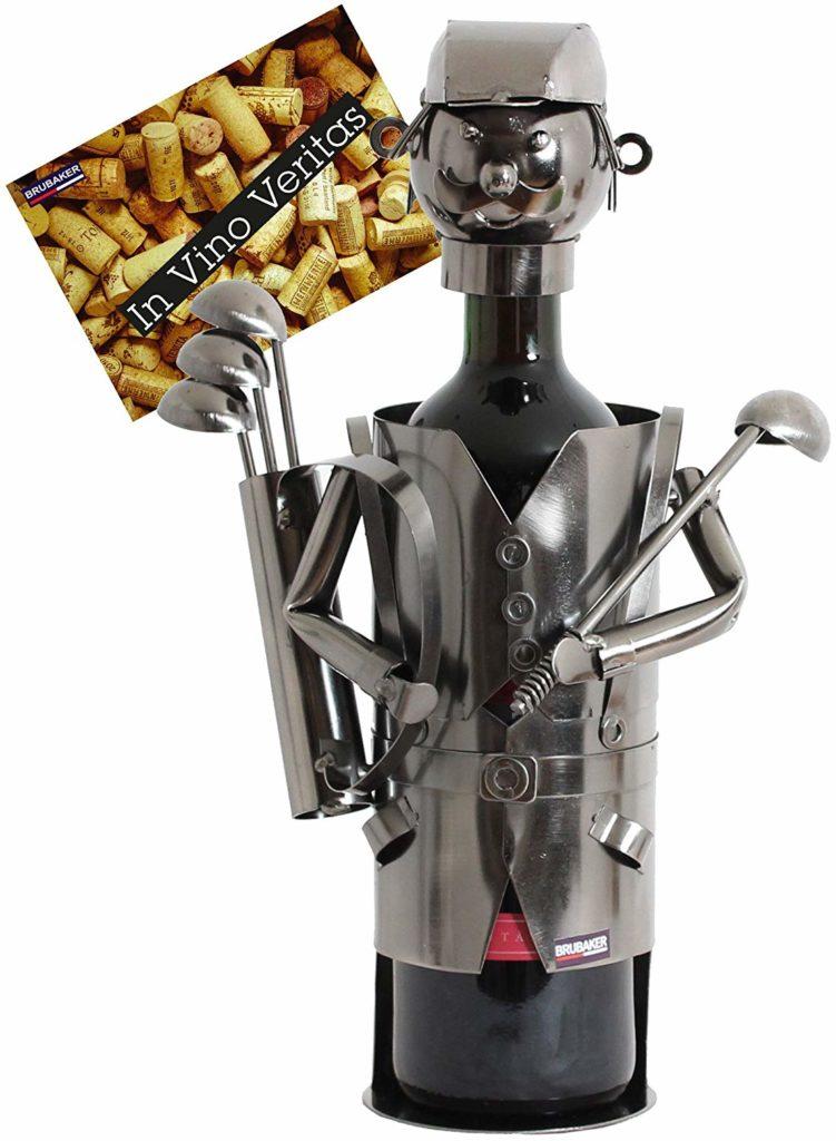 Sculpture porte bouteille métal joueur de golf Brubaker