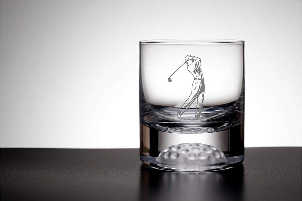 Verre à whisky golf avec motif golfeur et balle de golf