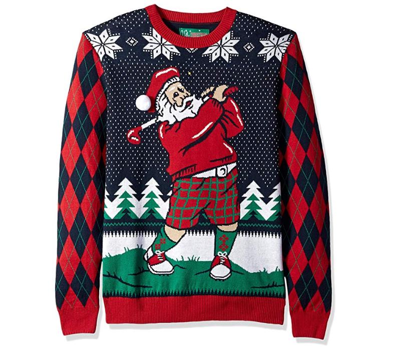 Pull moche de Noël pour Femme Père Noël golfeur