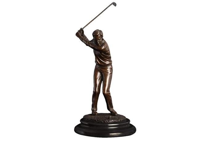 Sculpture Golfeur Cuivre 32 Cm Idée cadeau golf